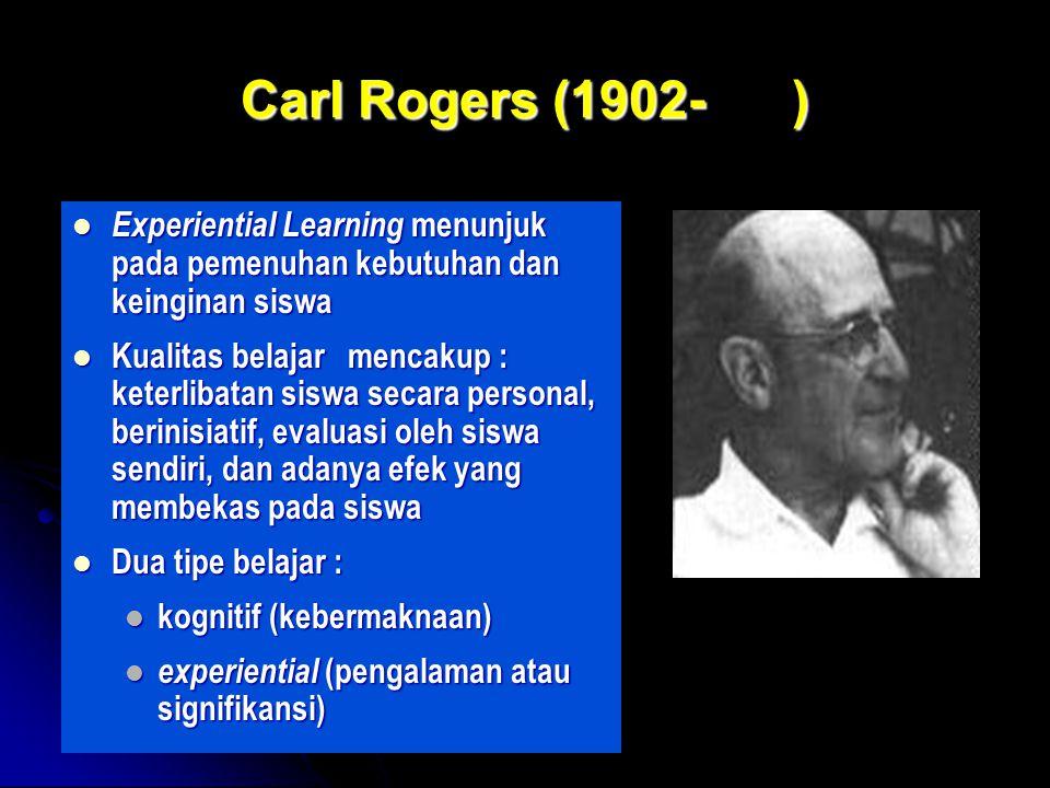by FH Carl Rogers (1902- ) Experiential Learning menunjuk pada pemenuhan kebutuhan dan keinginan siswa Experiential Learning menunjuk pada pemenuhan kebutuhan dan keinginan siswa Kualitas belajar mencakup : keterlibatan siswa secara personal, berinisiatif, evaluasi oleh siswa sendiri, dan adanya efek yang membekas pada siswa Kualitas belajar mencakup : keterlibatan siswa secara personal, berinisiatif, evaluasi oleh siswa sendiri, dan adanya efek yang membekas pada siswa Dua tipe belajar : Dua tipe belajar : kognitif (kebermaknaan) kognitif (kebermaknaan) experiential (pengalaman atau signifikansi) experiential (pengalaman atau signifikansi)