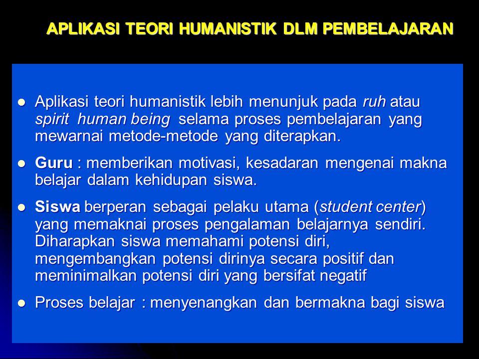 by FH APLIKASI TEORI HUMANISTIK DLM PEMBELAJARAN Aplikasi teori humanistik lebih menunjuk pada ruh atau spirit human being selama proses pembelajaran yang mewarnai metode-metode yang diterapkan.