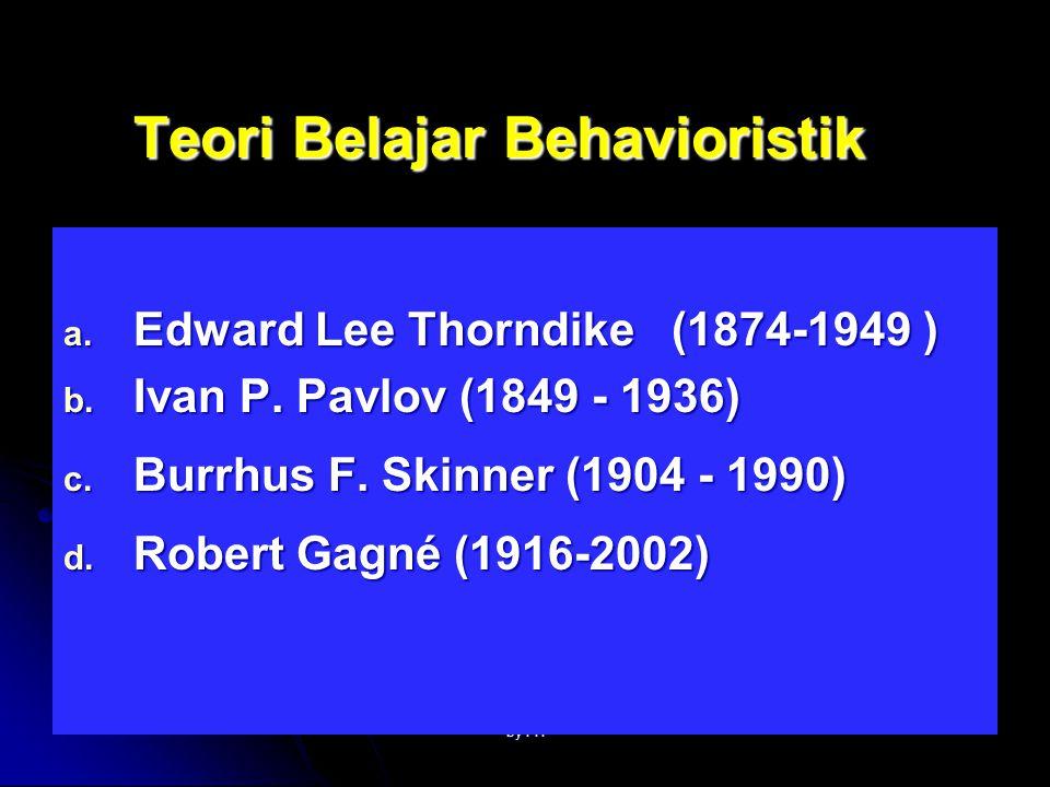 by FH Edward Lee Thorndike (1874-1949 ) Belajar : peristiwa terbentuknya asosiasi-asosiasi antara peristiwa-peristiwa : stimulus (S) dgn respon (R).
