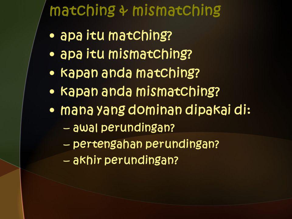 matching & mismatching apa itu matching. apa itu mismatching.