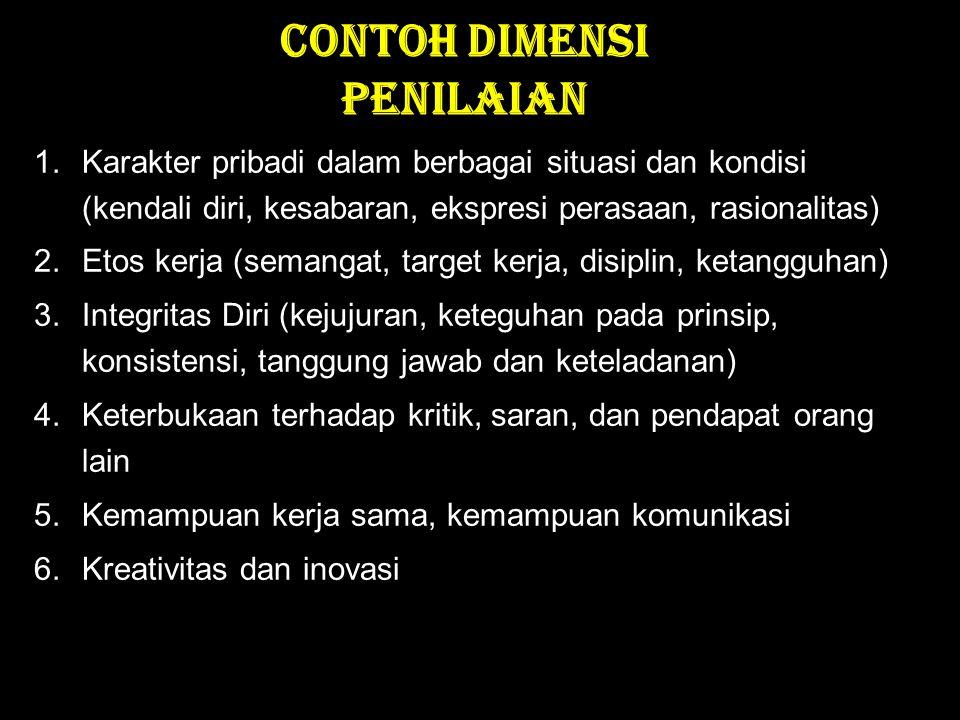 CONTOH DIMENSI PENILAIAN 1.Karakter pribadi dalam berbagai situasi dan kondisi (kendali diri, kesabaran, ekspresi perasaan, rasionalitas) 2.Etos kerja