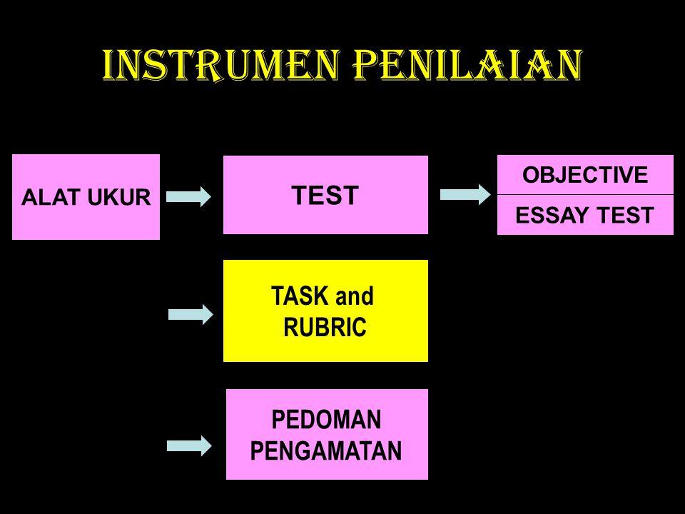 INSTRUMEN PENILAIAN ESSAY TEST OBJECTIVE ALAT UKUR TEST TASK and RUBRIC PEDOMAN PENGAMATAN