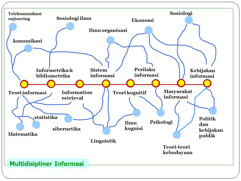 Teori informasi Informetrika & bibliometrika Information retrieval Sistem informasi Teori kognitif Perilaku informasi Masyarakat informasi Kebijakan i