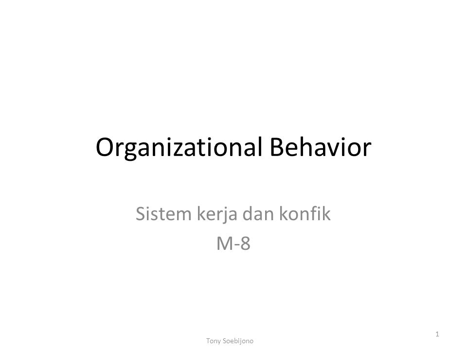 Organizational Behavior Sistem kerja dan konfik M-8 1 Tony Soebijono