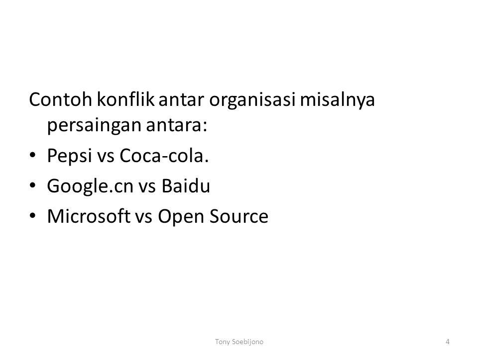 Contoh konflik antar organisasi misalnya persaingan antara: Pepsi vs Coca-cola. Google.cn vs Baidu Microsoft vs Open Source Tony Soebijono4