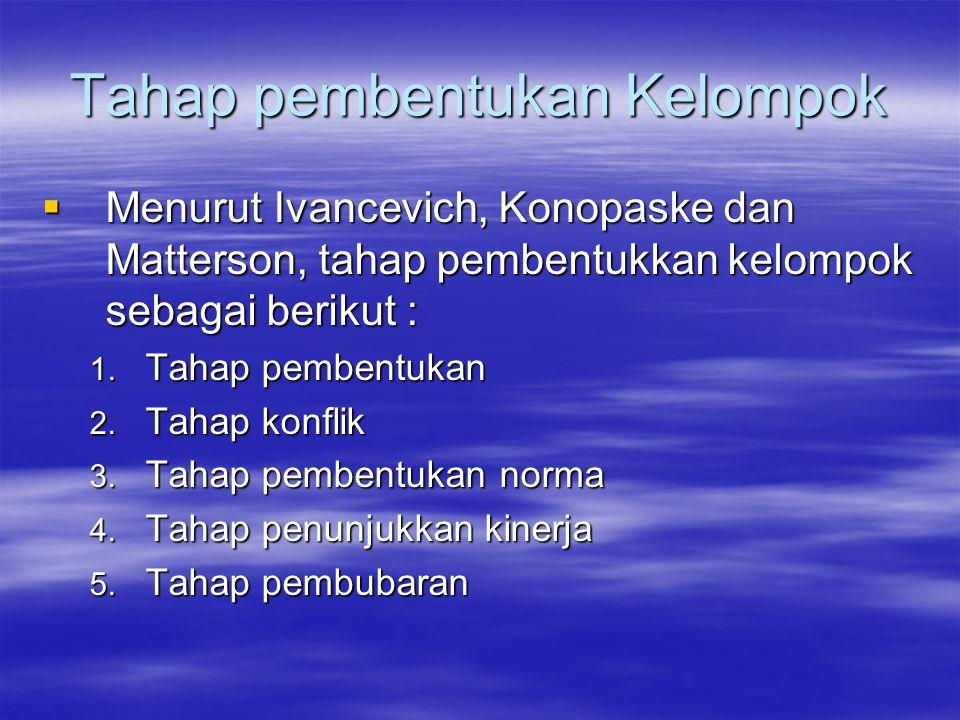 Tahap pembentukan Kelompok  Menurut Ivancevich, Konopaske dan Matterson, tahap pembentukkan kelompok sebagai berikut : 1. Tahap pembentukan 2. Tahap