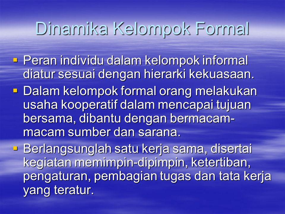 Dinamika Kelompok Formal  Peran individu dalam kelompok informal diatur sesuai dengan hierarki kekuasaan.  Dalam kelompok formal orang melakukan usa