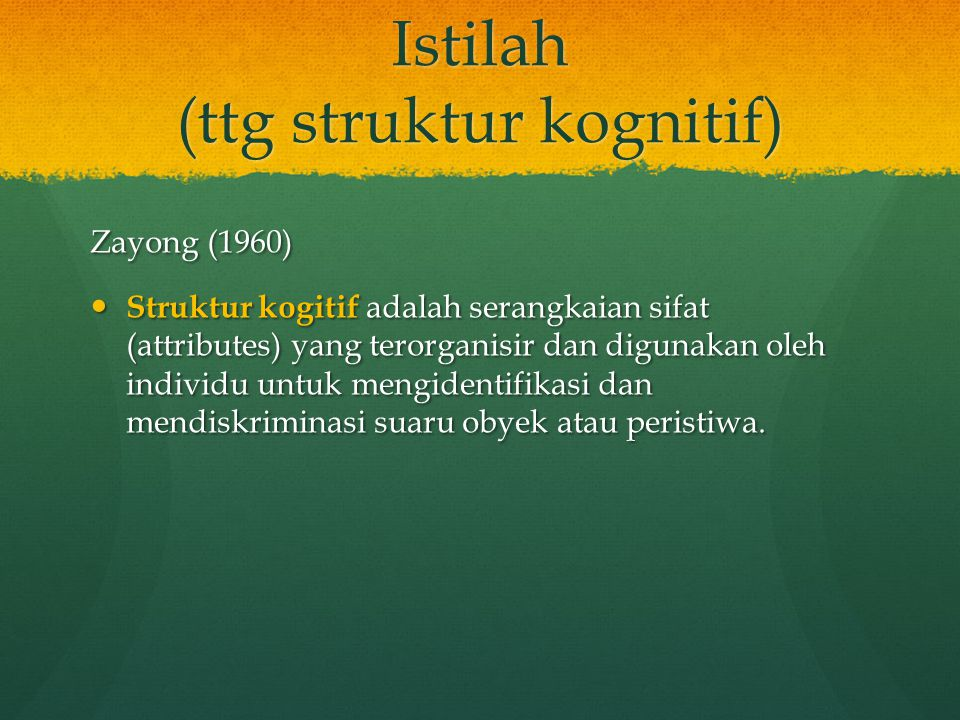 Istilah (ttg struktur kognitif) Zayong (1960) Struktur kogitif adalah serangkaian sifat (attributes) yang terorganisir dan digunakan oleh individu unt