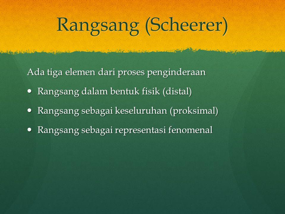 Rangsang (Scheerer) Ada tiga elemen dari proses penginderaan Rangsang dalam bentuk fisik (distal) Rangsang dalam bentuk fisik (distal) Rangsang sebaga