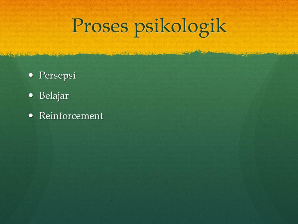 Proses psikologik Persepsi Persepsi Belajar Belajar Reinforcement Reinforcement