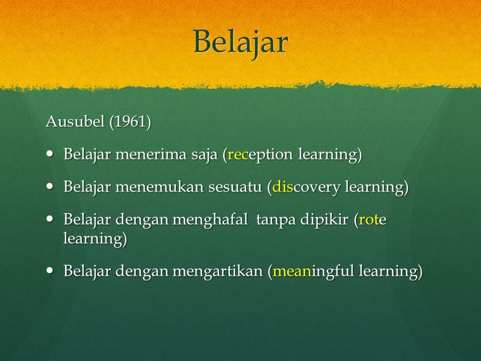 Belajar Ausubel (1961) Belajar menerima saja (reception learning) Belajar menerima saja (reception learning) Belajar menemukan sesuatu (discovery lear