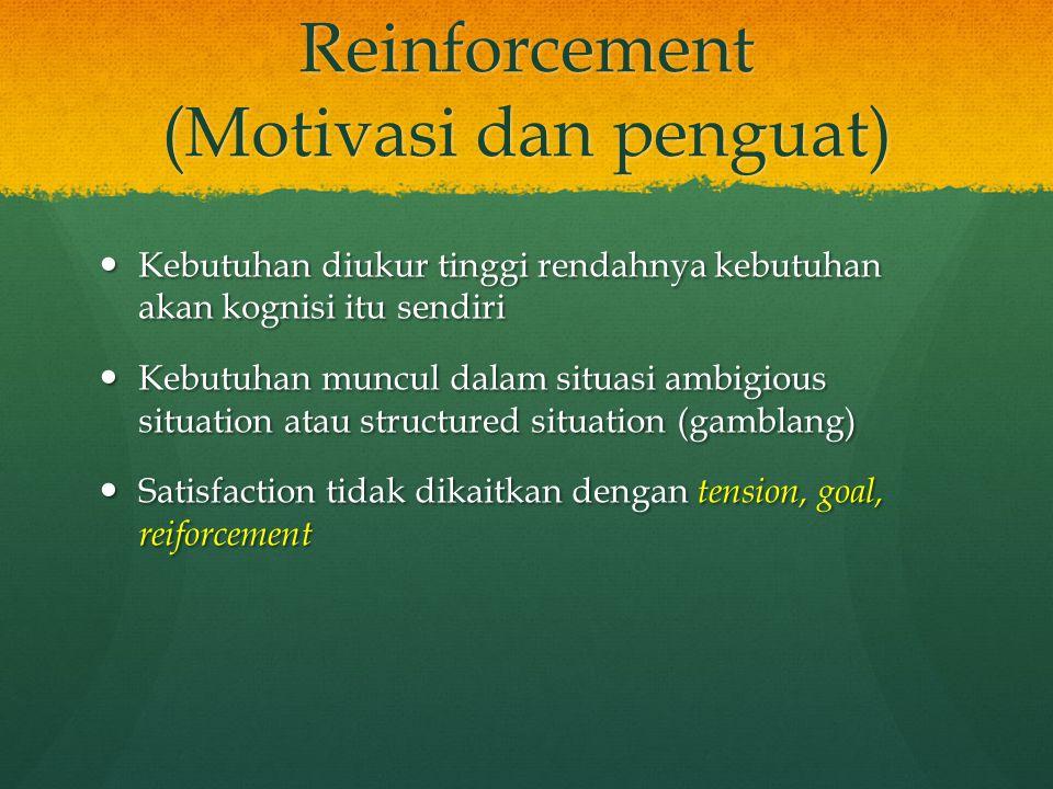 Reinforcement (Motivasi dan penguat) Kebutuhan diukur tinggi rendahnya kebutuhan akan kognisi itu sendiri Kebutuhan diukur tinggi rendahnya kebutuhan