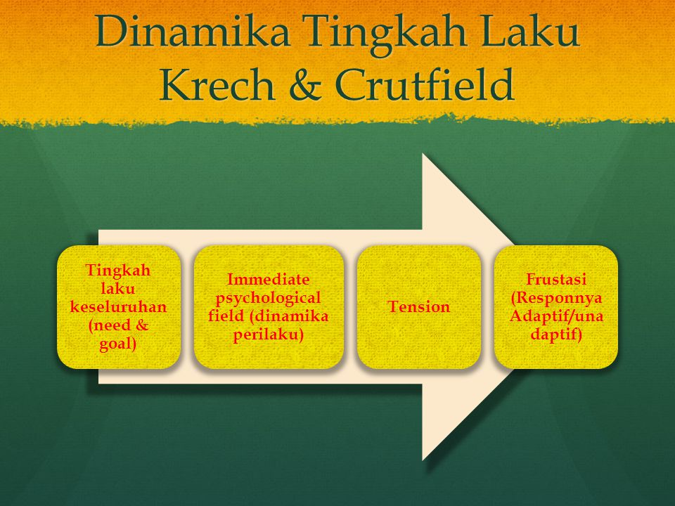 Dinamika Tingkah Laku Krech & Crutfield Tingkah laku keseluruhan (need & goal) Immediate psychological field (dinamika perilaku) Tension Frustasi (Res