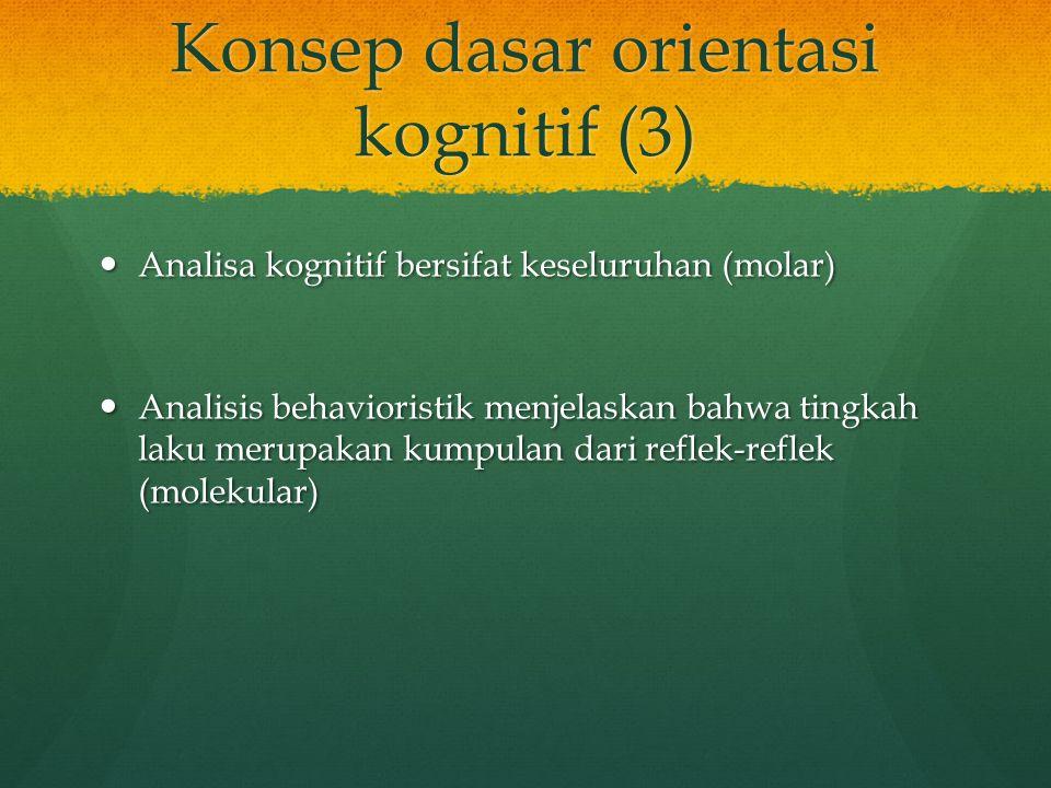 Konsep dasar orientasi kognitif (3) Analisa kognitif bersifat keseluruhan (molar) Analisa kognitif bersifat keseluruhan (molar) Analisis behavioristik