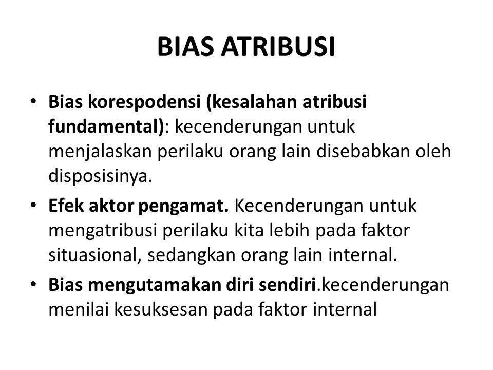 BIAS ATRIBUSI Bias korespodensi (kesalahan atribusi fundamental): kecenderungan untuk menjalaskan perilaku orang lain disebabkan oleh disposisinya. Ef