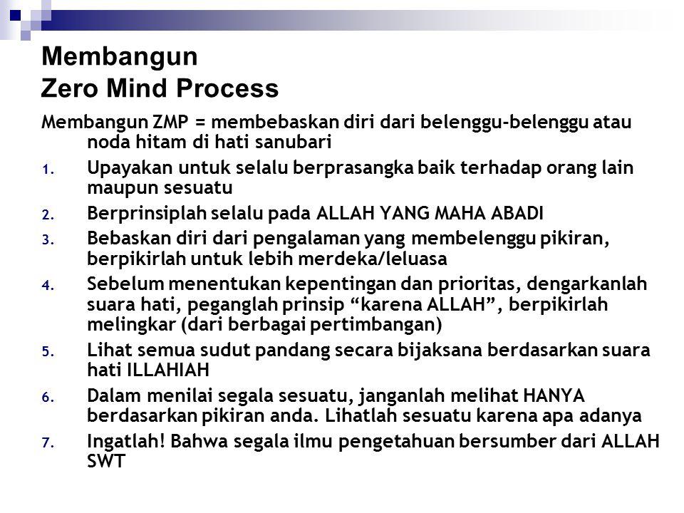 Membangun Zero Mind Process Membangun ZMP = membebaskan diri dari belenggu-belenggu atau noda hitam di hati sanubari 1. Upayakan untuk selalu berprasa