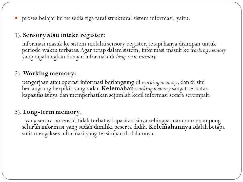 proses belajar ini tersedia tiga taraf struktural sistem informasi, yaitu: 1). Sensory atau intake register: informasi masuk ke sistem melalui sensory