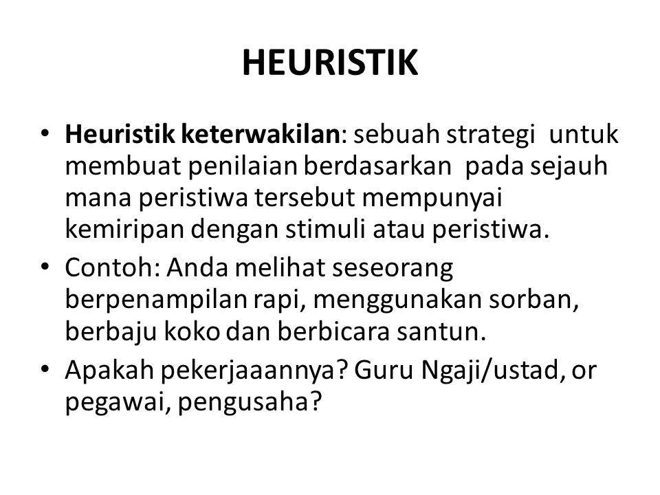HEURISTIK Heuristik keterwakilan: sebuah strategi untuk membuat penilaian berdasarkan pada sejauh mana peristiwa tersebut mempunyai kemiripan dengan stimuli atau peristiwa.