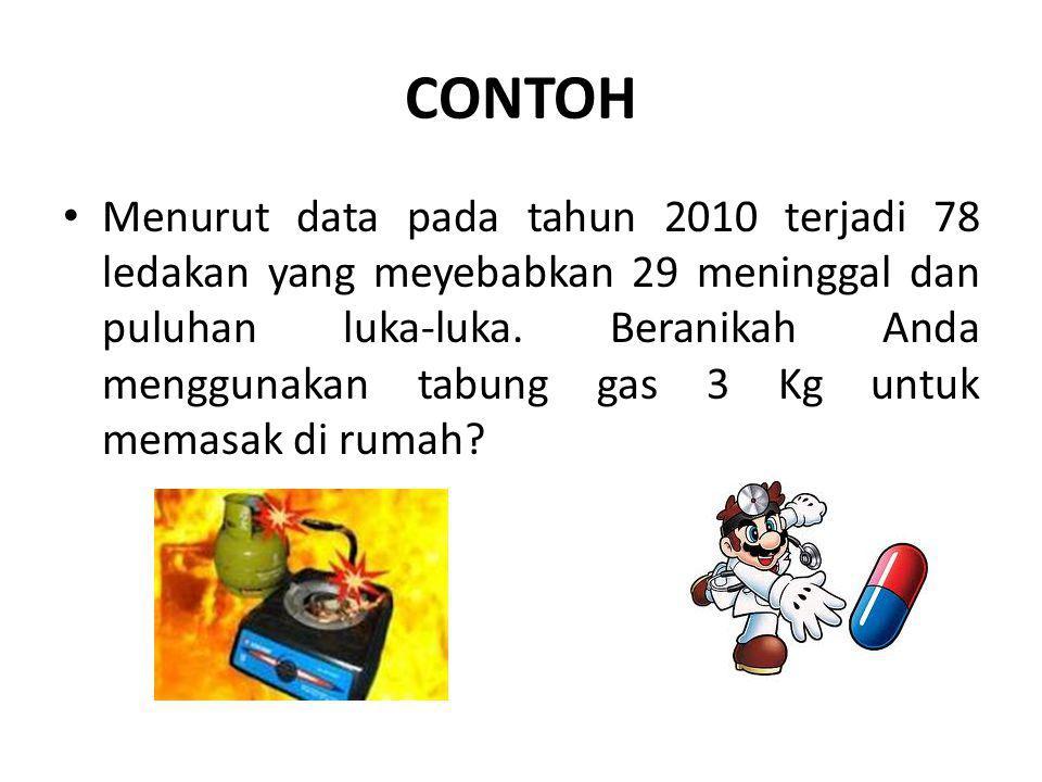 CONTOH Menurut data pada tahun 2010 terjadi 78 ledakan yang meyebabkan 29 meninggal dan puluhan luka-luka.
