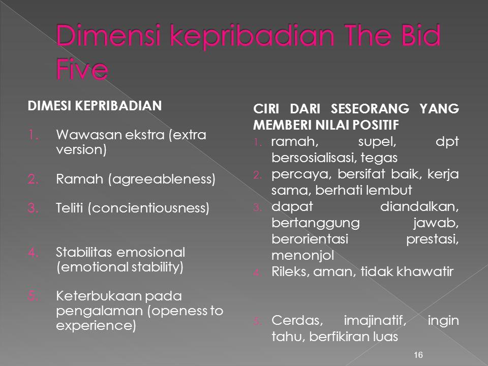 16 DIMESI KEPRIBADIAN 1.Wawasan ekstra (extra version) 2.Ramah (agreeableness) 3.Teliti (concientiousness) 4.Stabilitas emosional (emotional stability