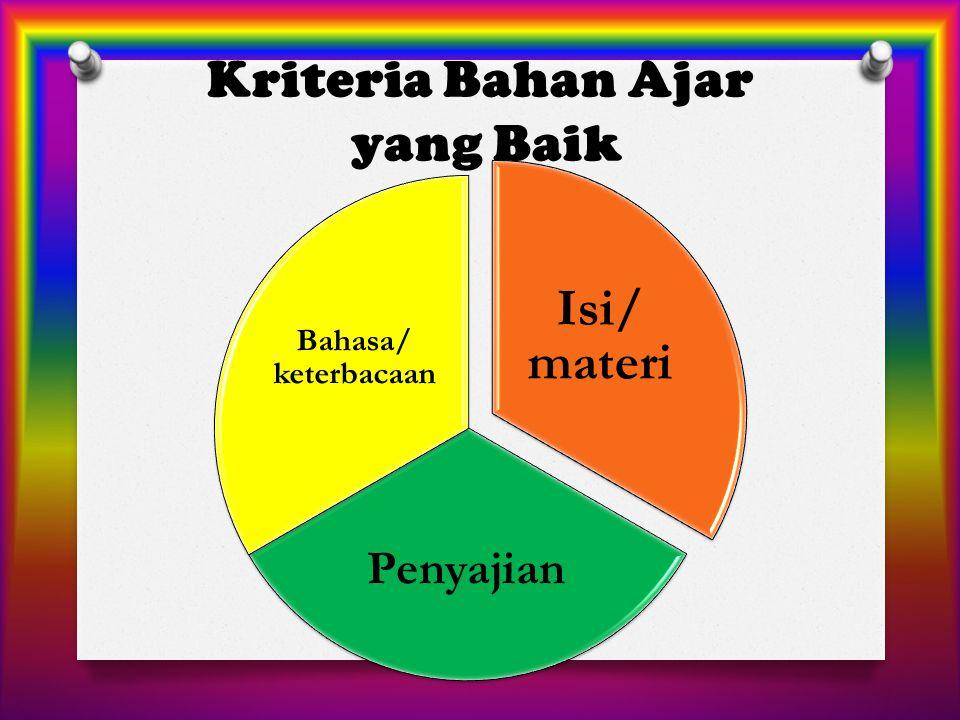 Kriteria Bahan Ajar yang Baik Isi/ materi Penyajian Bahasa/ keterbacaan