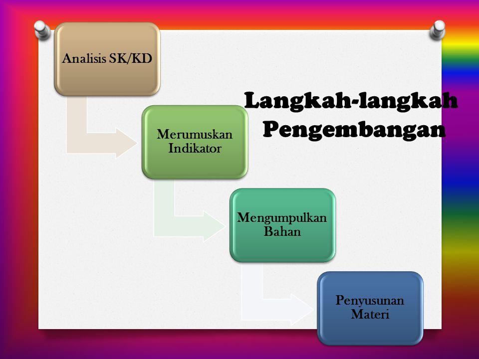 Langkah-langkah Pengembangan Analisis SK/KD Merumuskan Indikator Mengumpulkan Bahan Penyusunan Materi