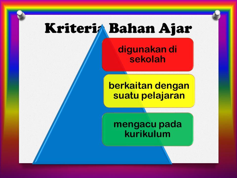 Kriteria Bahan Ajar digunakan di sekolah berkaitan dengan suatu pelajaran mengacu pada kurikulum