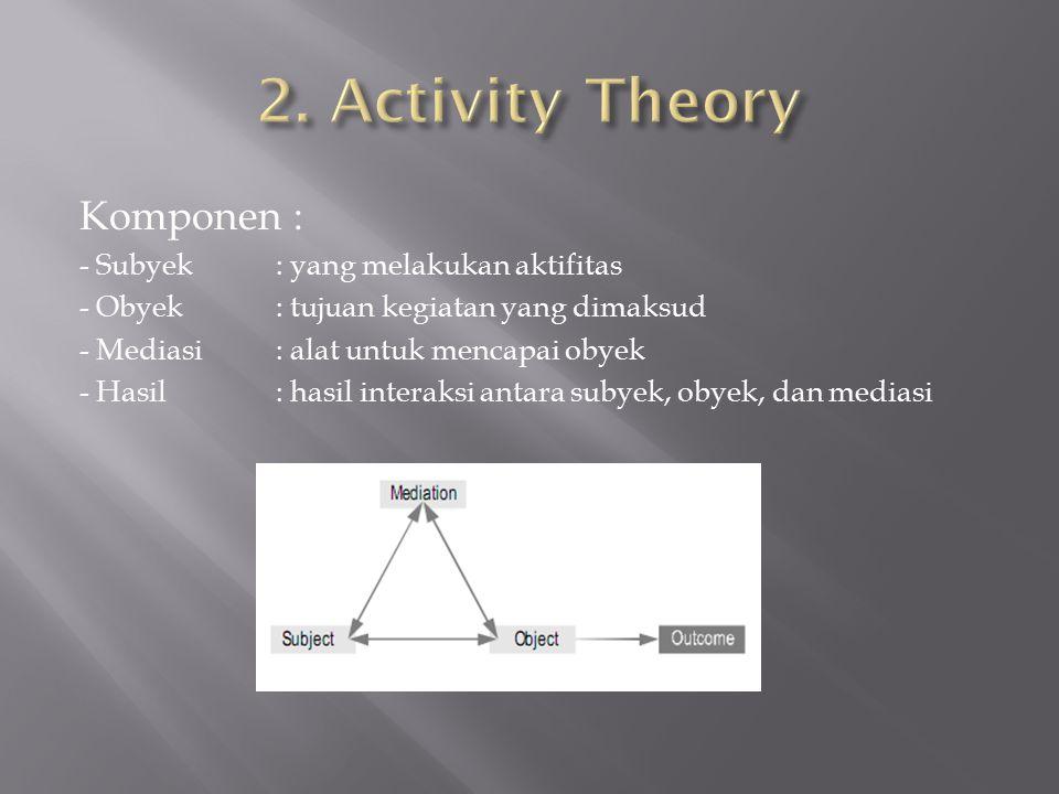 Komponen : - Subyek : yang melakukan aktifitas - Obyek : tujuan kegiatan yang dimaksud - Mediasi: alat untuk mencapai obyek - Hasil : hasil interaksi antara subyek, obyek, dan mediasi