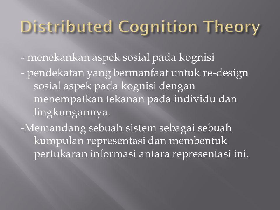 - menekankan aspek sosial pada kognisi - pendekatan yang bermanfaat untuk re-design sosial aspek pada kognisi dengan menempatkan tekanan pada individu dan lingkungannya.