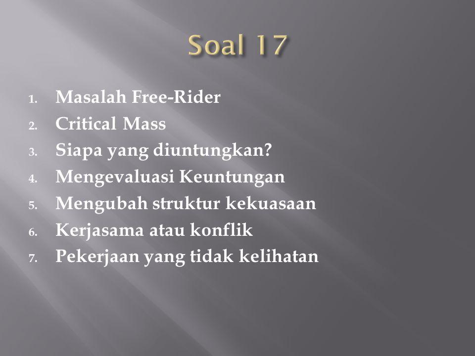 1. Masalah Free-Rider 2. Critical Mass 3. Siapa yang diuntungkan? 4. Mengevaluasi Keuntungan 5. Mengubah struktur kekuasaan 6. Kerjasama atau konflik