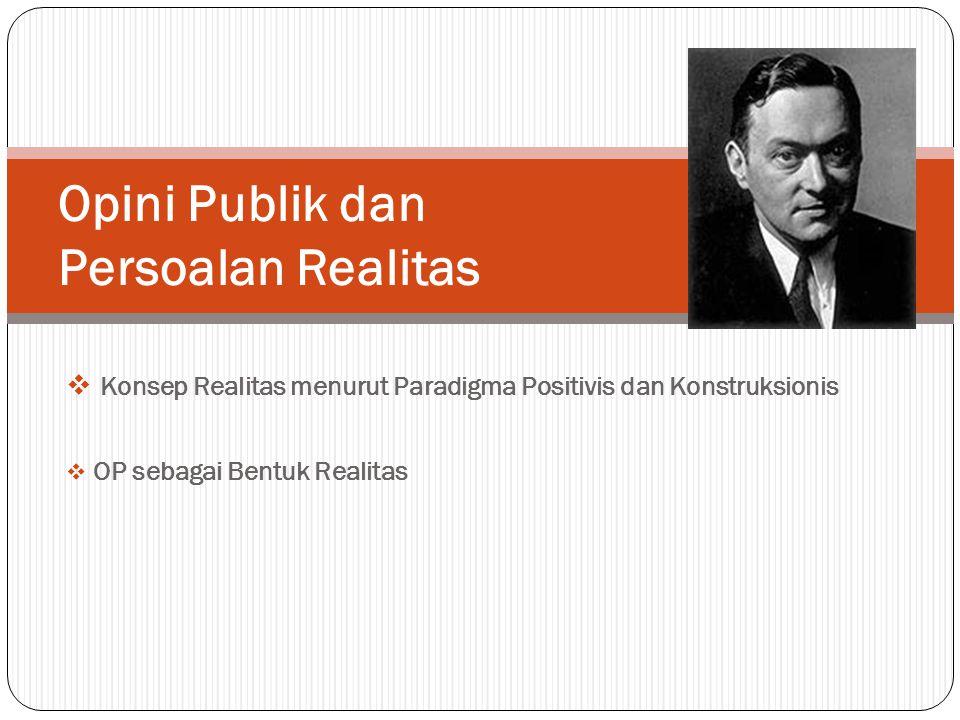  Konsep Realitas menurut Paradigma Positivis dan Konstruksionis  OP sebagai Bentuk Realitas Opini Publik dan Persoalan Realitas