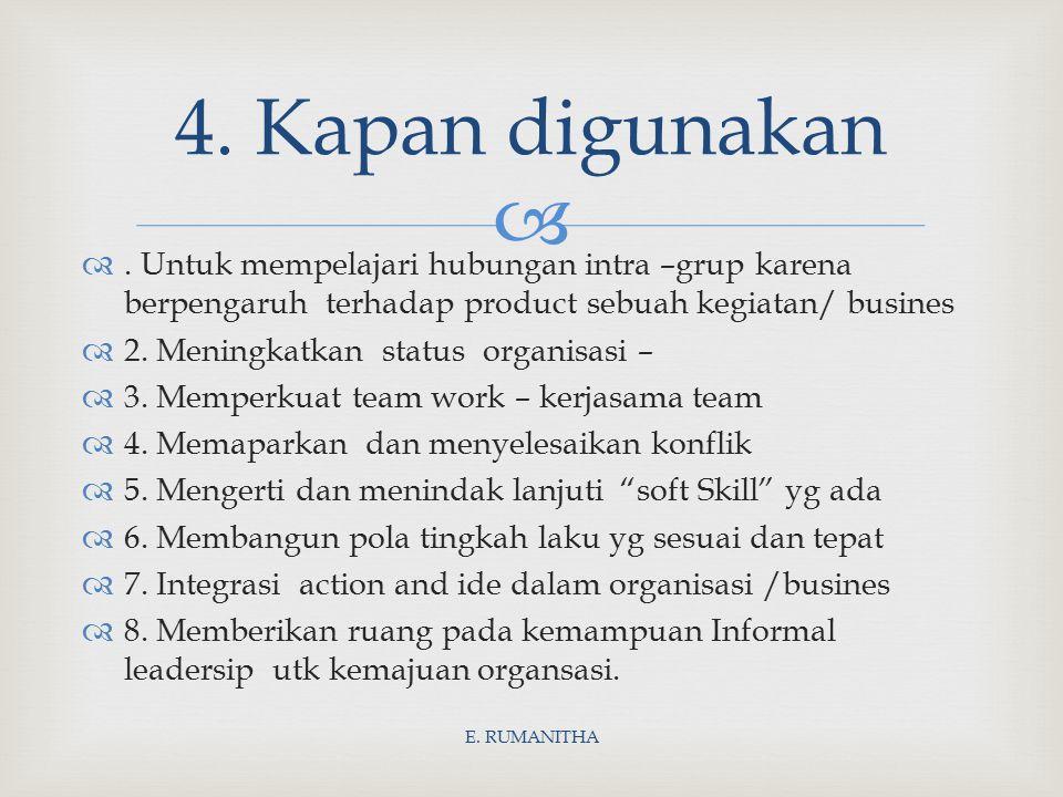  . Untuk mempelajari hubungan intra –grup karena berpengaruh terhadap product sebuah kegiatan/ busines  2. Meningkatkan status organisasi –  3. Me