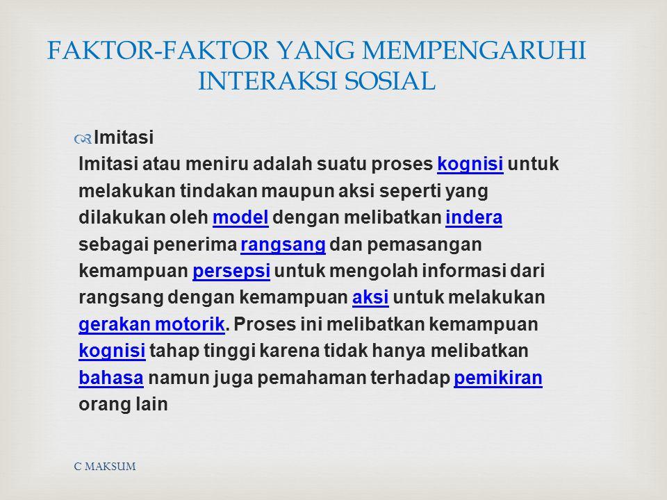 C MAKSUM FAKTOR-FAKTOR YANG MEMPENGARUHI INTERAKSI SOSIAL  Imitasi Imitasi atau meniru adalah suatu proses kognisi untukkognisi melakukan tindakan ma