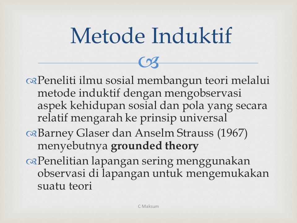  Metode Induktif  Peneliti ilmu sosial membangun teori melalui metode induktif dengan mengobservasi aspek kehidupan sosial dan pola yang secara rela