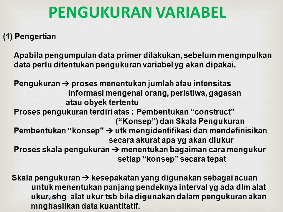 C MAKSUM C Maksum PENGUKURAN VARIABEL (1) Pengertian Apabila pengumpulan data primer dilakukan, sebelum mengmpulkan data perlu ditentukan pengukuran v