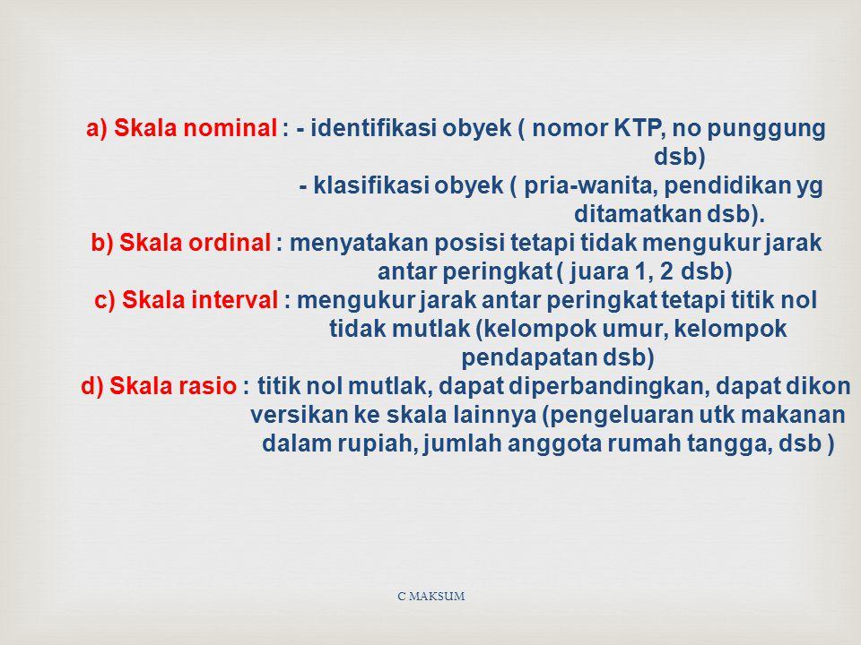 C MAKSUM a) Skala nominal : - identifikasi obyek ( nomor KTP, no punggung dsb) - klasifikasi obyek ( pria-wanita, pendidikan yg ditamatkan dsb). b) Sk