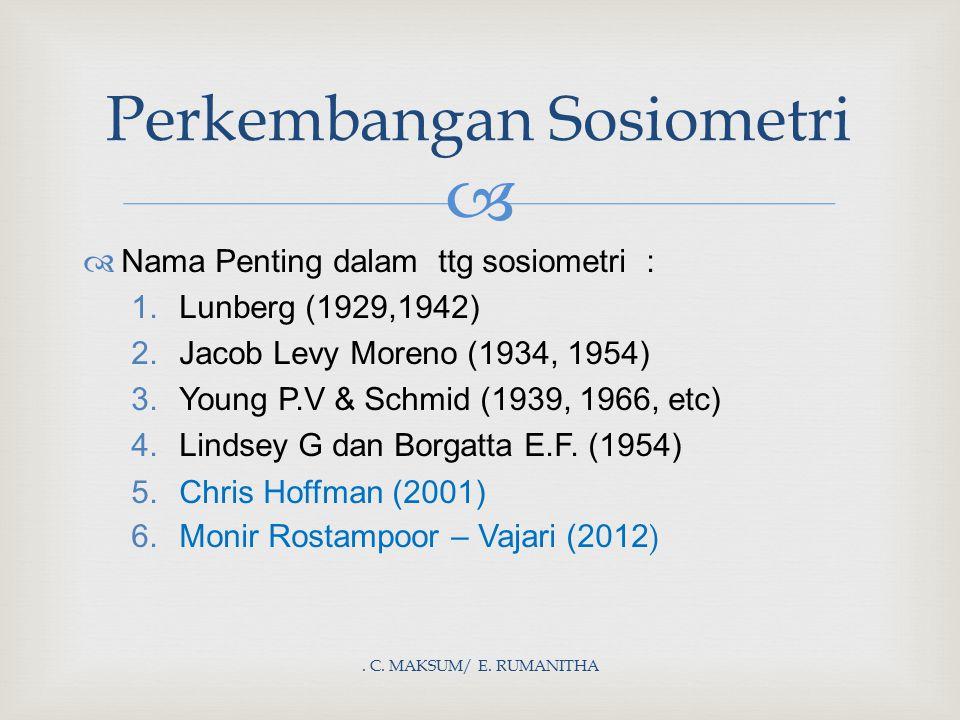 . C. MAKSUM/ E. RUMANITHA Perkembangan Sosiometri  Nama Penting dalam ttg sosiometri : 1.Lunberg (1929,1942) 2.Jacob Levy Moreno (1934, 1954) 3.Youn