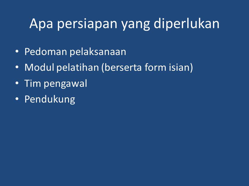 Apa persiapan yang diperlukan Pedoman pelaksanaan Modul pelatihan (berserta form isian) Tim pengawal Pendukung