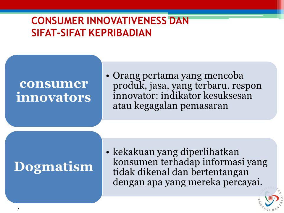 CONSUMER INNOVATIVENESS DAN SIFAT-SIFAT KEPRIBADIAN 7 Orang pertama yang mencoba produk, jasa, yang terbaru. respon innovator: indikator kesuksesan at