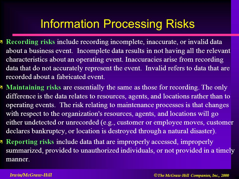  The McGraw-Hill Companies, Inc., 2000 Irwin/McGraw-Hill Information Processing Risks ä Recording risks include recording incomplete, inaccurate, or