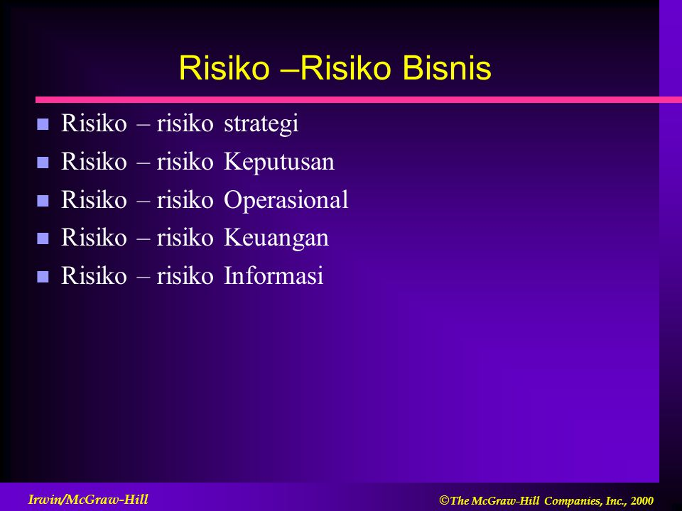  The McGraw-Hill Companies, Inc., 2000 Irwin/McGraw-Hill Risiko –Risiko Bisnis n Risiko – risiko strategi n Risiko – risiko Keputusan n Risiko – ris