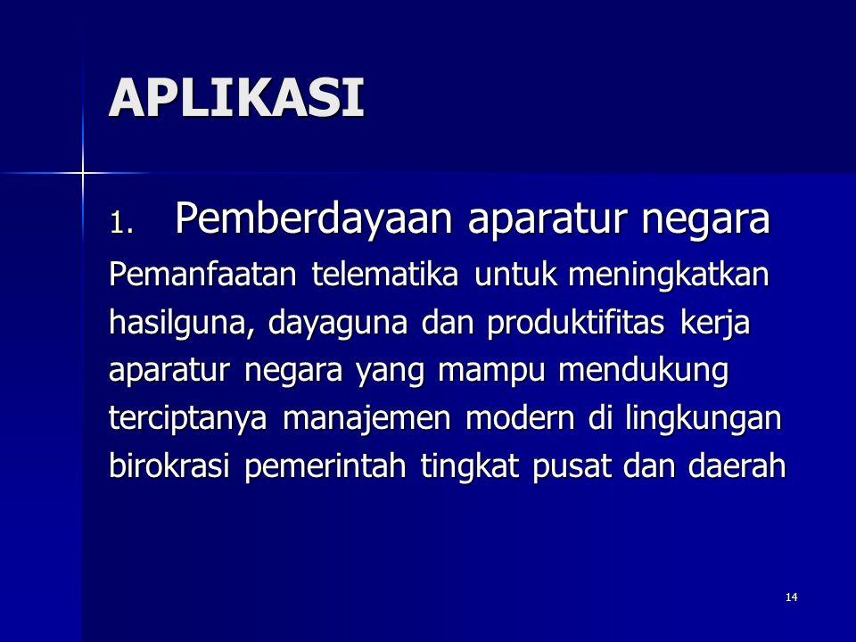 14 APLIKASI 1. Pemberdayaan aparatur negara Pemanfaatan telematika untuk meningkatkan hasilguna, dayaguna dan produktifitas kerja aparatur negara yang