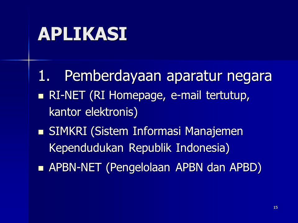 15 APLIKASI 1. Pemberdayaan aparatur negara RI-NET (RI Homepage, e-mail tertutup, kantor elektronis) RI-NET (RI Homepage, e-mail tertutup, kantor elek