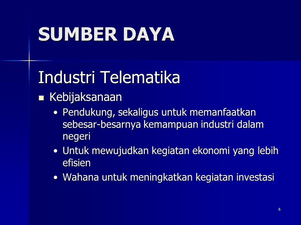 6 SUMBER DAYA Industri Telematika Kebijaksanaan Kebijaksanaan Pendukung, sekaligus untuk memanfaatkan sebesar-besarnya kemampuan industri dalam negeri