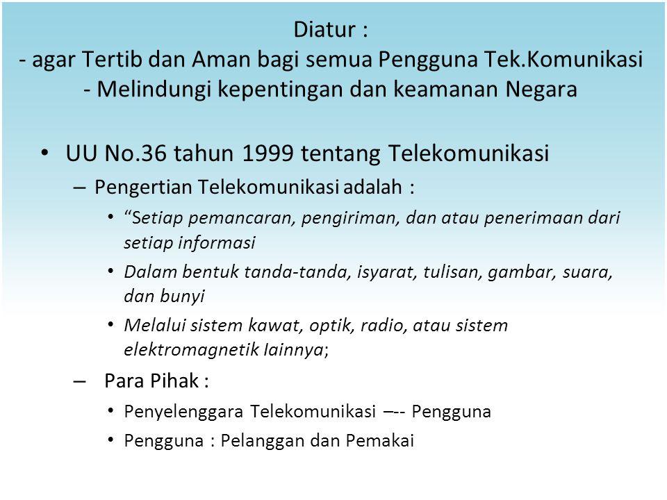 Diatur : - agar Tertib dan Aman bagi semua Pengguna Tek.Komunikasi - Melindungi kepentingan dan keamanan Negara UU No.36 tahun 1999 tentang Telekomuni