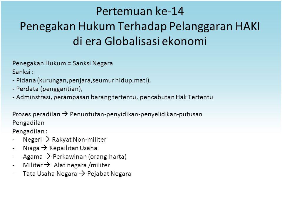 Pertemuan ke-14 Penegakan Hukum Terhadap Pelanggaran HAKI di era Globalisasi ekonomi Penegakan Hukum = Sanksi Negara Sanksi : - Pidana (kurungan,penja