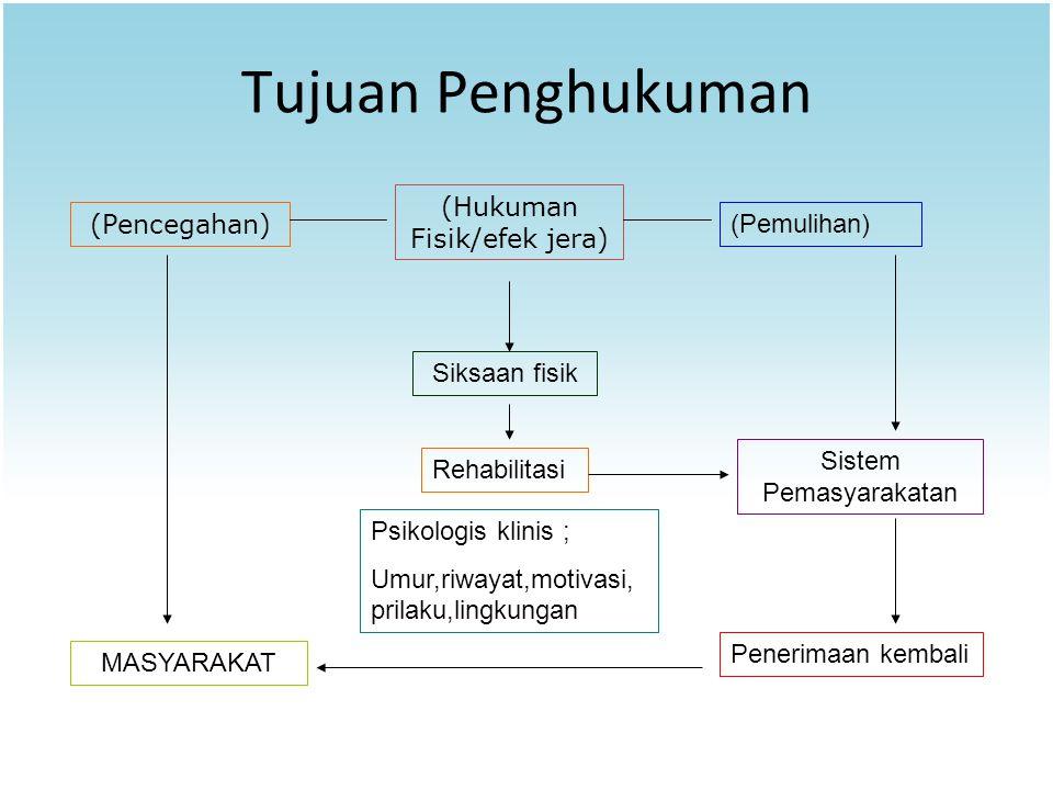 Tujuan Penghukuman (Pencegahan) (Hukuman Fisik/efek jera) (Pemulihan) Sistem Pemasyarakatan Psikologis klinis ; Umur,riwayat,motivasi, prilaku,lingkun