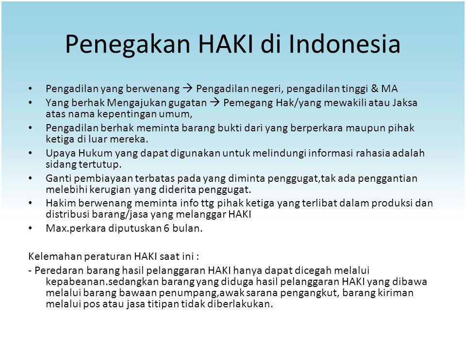 Penegakan HAKI di Indonesia Pengadilan yang berwenang  Pengadilan negeri, pengadilan tinggi & MA Yang berhak Mengajukan gugatan  Pemegang Hak/yang m