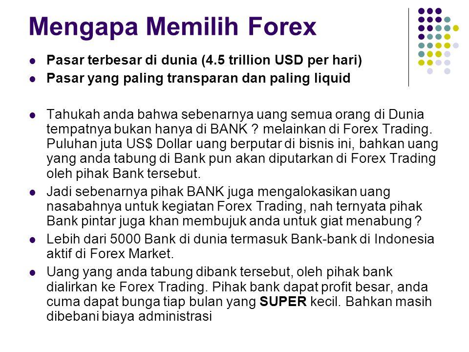 Mengapa Memilih Forex Pasar terbesar di dunia (4.5 trillion USD per hari) Pasar yang paling transparan dan paling liquid Tahukah anda bahwa sebenarnya uang semua orang di Dunia tempatnya bukan hanya di BANK .
