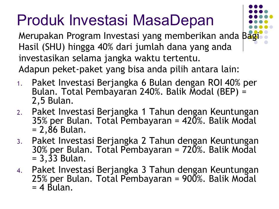 Produk Investasi MasaDepan 1.Paket Investasi Berjangka 6 Bulan dengan ROI 40% per Bulan.